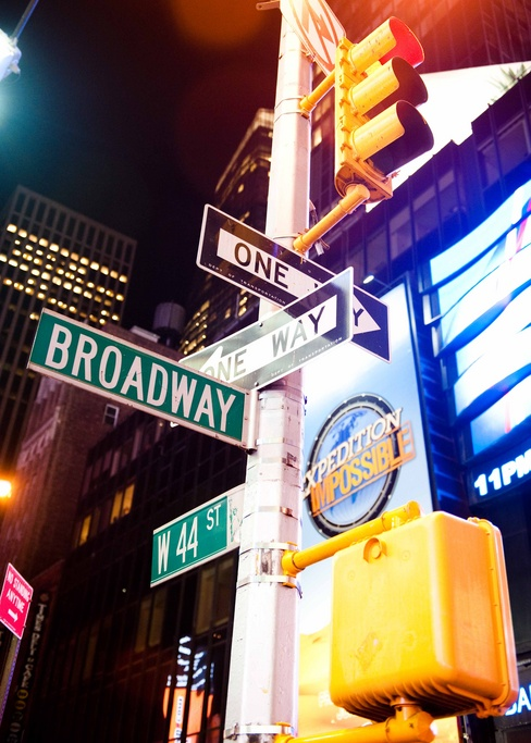 Road signs, Broadway, New York