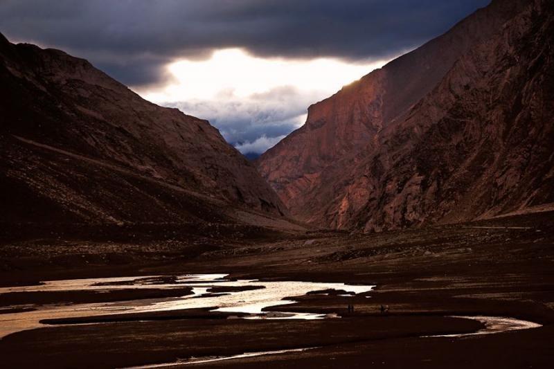 sunset at rangdum, ladakh, 2006