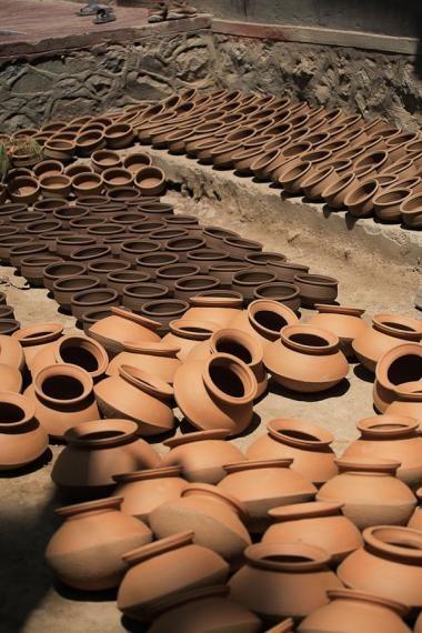 freshly made pots, pahalgam, 2007