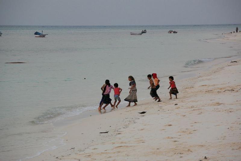 children on the beach at agatti, lakshadweep, 2008