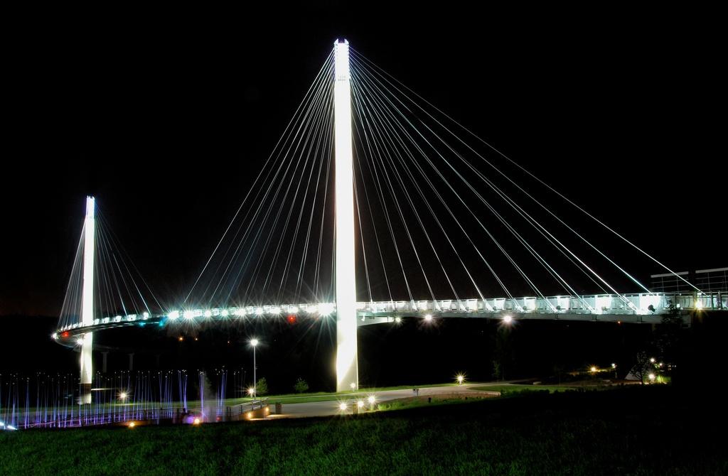 the pedestrian bridge. illuminated.