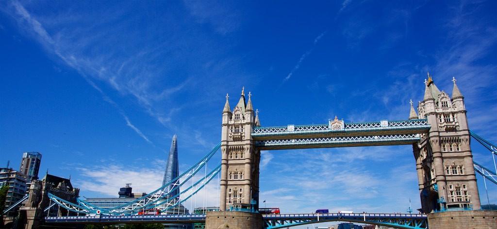Tower Bridge London under blue skies