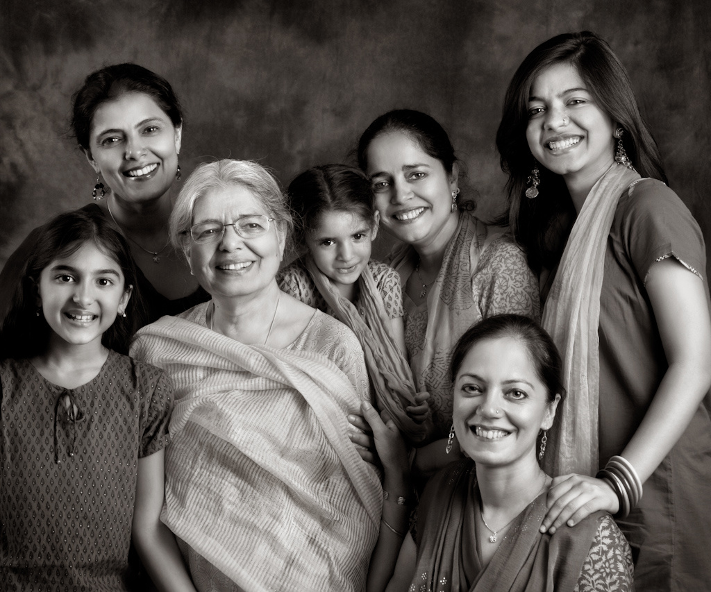 Harloena Srivastava with her Mom, Dasreeta Singh, and sisters Harsohena Kaur and Tripta Singh. And daughters, Nayan Srivastava, Jaitsiri Kaur and Kyrah Deo.