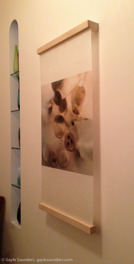 Installation shot of Summer's End 01, photo encaustic scroll