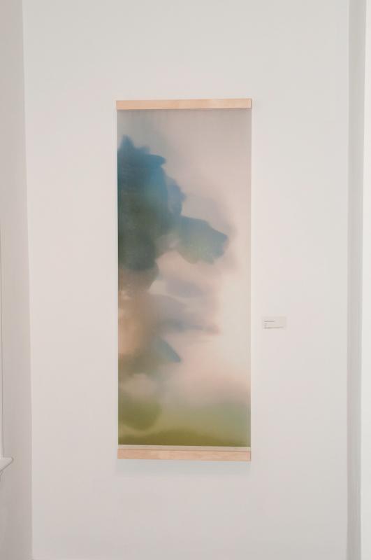 """Dreaming Blue 01, photo-encaustic on Japanese kozo, 18""""x42"""""""