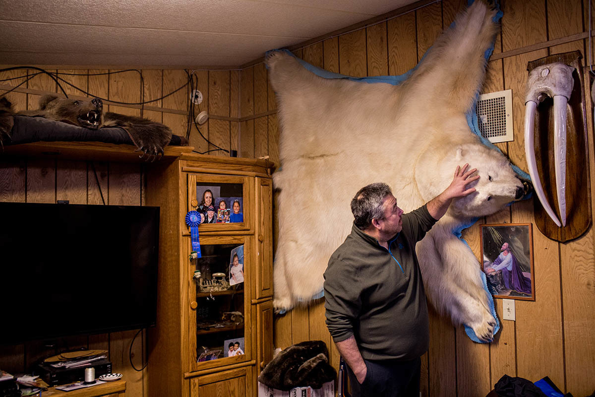 Dennis Sinnok, who was born in Anchorage but moved to Shishmaref when he was still a child, examines the polar bear skin mounted on the wall of his. He is an accomplished bear, wolf, seal and walrus hunter. Shishmaref is a barrier island with a population of less than 600 Alaska native Inupiaq people located 30 miles south of the Arctic Circle. The island is threatened by global temperature rises which have disproportionately affected the Arctic. Rising water levels and increased erosion mean that Shishmaref is slowly being absorbed by the surrounding seas and the prognosis is that it will disappear completely over the next two decades.