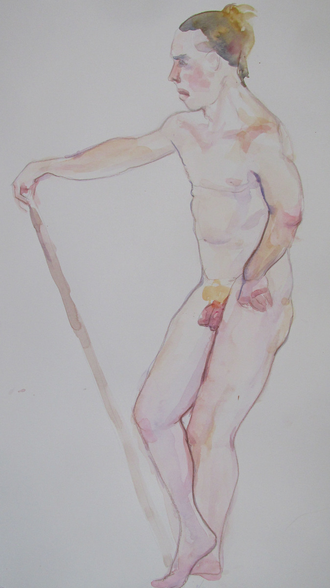 Adrian with stick, watercolour, 2016
