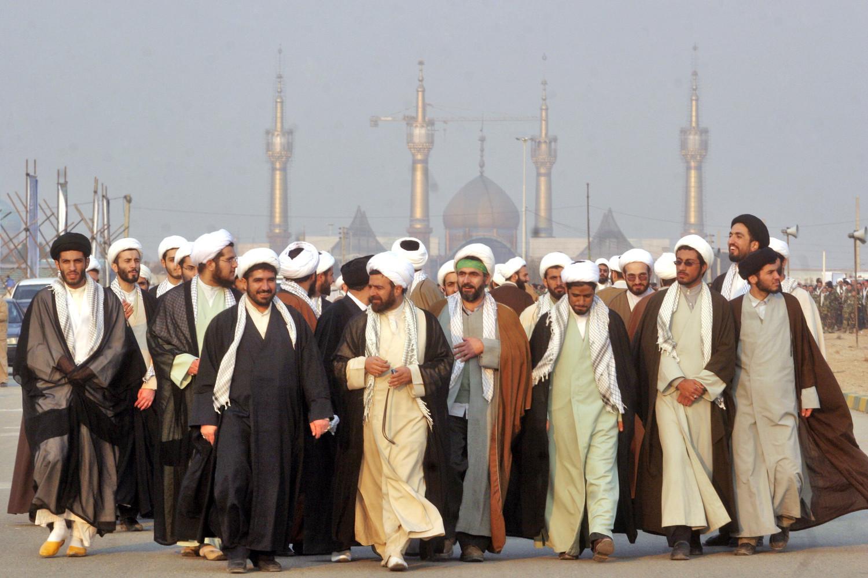 Iranian mullahs outside a shrine of Iran's late leader Ayatollah Khomeini in Tehran, Iran
