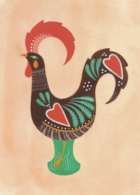 "ROOSTER OF BARCELOS 5""x7"", Acrylic on Paper - Sold"