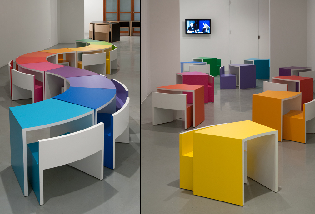 Open Outcry Furniture - a site-specific installation curated by conceptual artist Mary Ellen Carroll (MEC, design studios) and architect Simon Dance (Simon Dance Design)