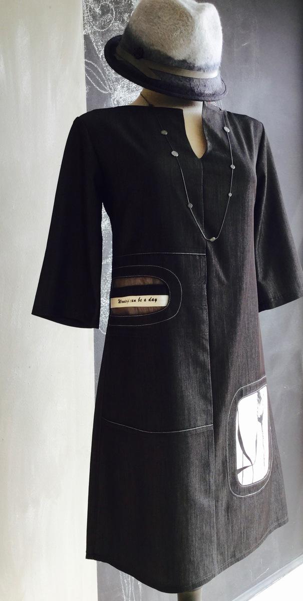 SIMPLETON BLK STRTCH DENIM DRS- 179 LILLIPUT HAT & BurfurtART necklace