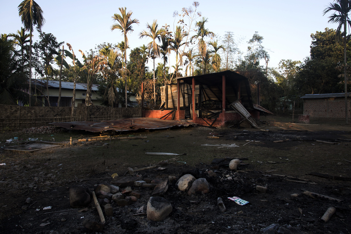 On December 24, adivasi protestors set fire to an alleged NDFB camp in Biswanath Chariali to avenge the killings. Neighbours say they often saw men in army fatigues spend time here