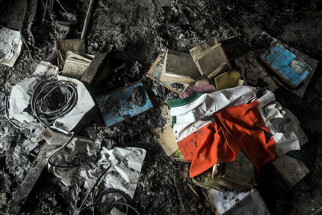 The Indian Tricolor, a book on History of India destroyed at an educated, local political Bodo leader's home in Aminkata, a village in the border area of Kokrajhar