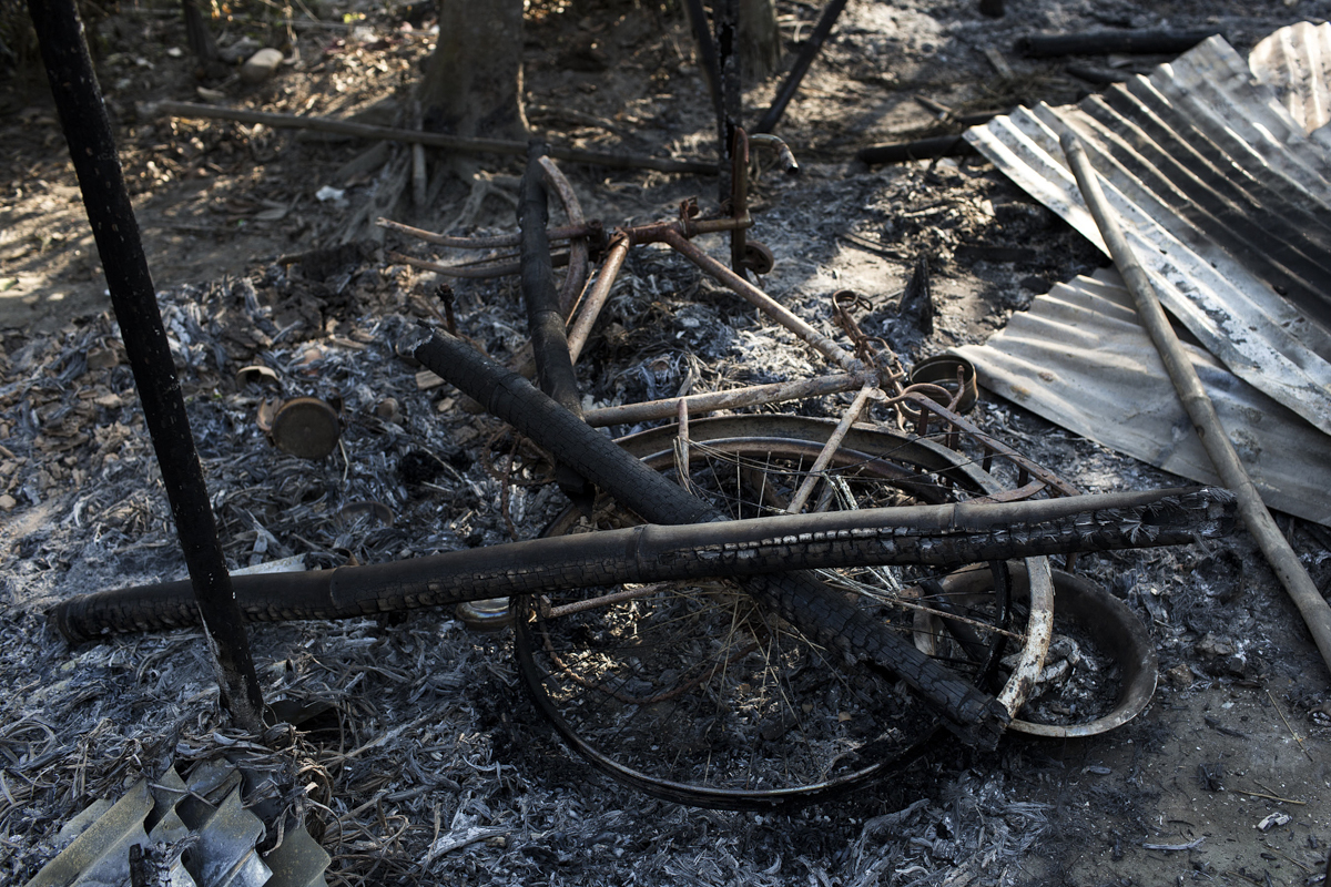 A cycle and other remains in a house in Alokjhar village, Kokrajhar, where a Bodo man died from burn injuries. The body was found two days later.