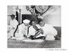 Sardar Patel, Mahatma Gandhi and Jawaharlal Nehru (seated R to L) .1946