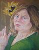 Self portrait with sunflower, oil,on linen, 2013