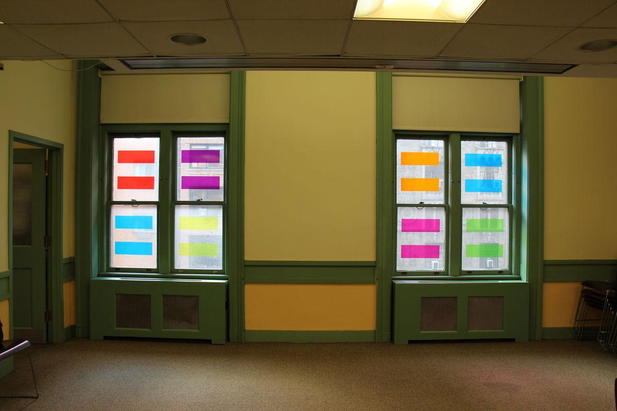 LIFEBOAT, 2014, Window Installation at Muhlenberg Library NYPL, Third Floor, Chelsea, New York, NY