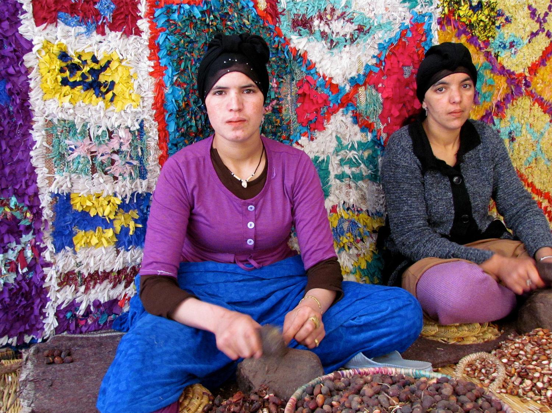 Woman making argan oil, Morocco