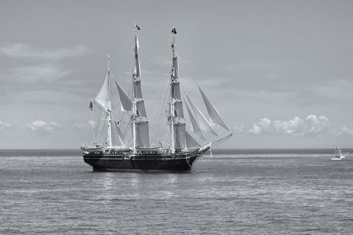 The majestic Charles W. Morgan tall ship out for a sai