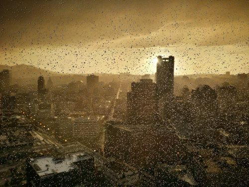 View form the top of Marriot Marquis after a storm. San Francisco, 2016