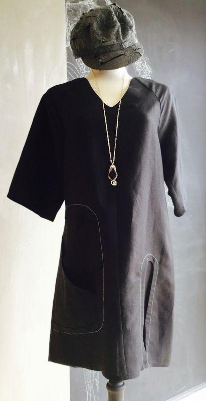 GAMI -BLK LINEN DRESS 179 BurfurtART NECKLACE & LILLIPUT HAT