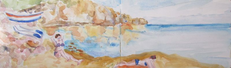 Zimmari beach, Panarea, watercolour, 2016