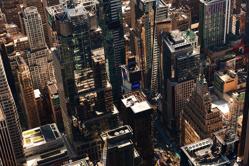 Aerial shot of Times square